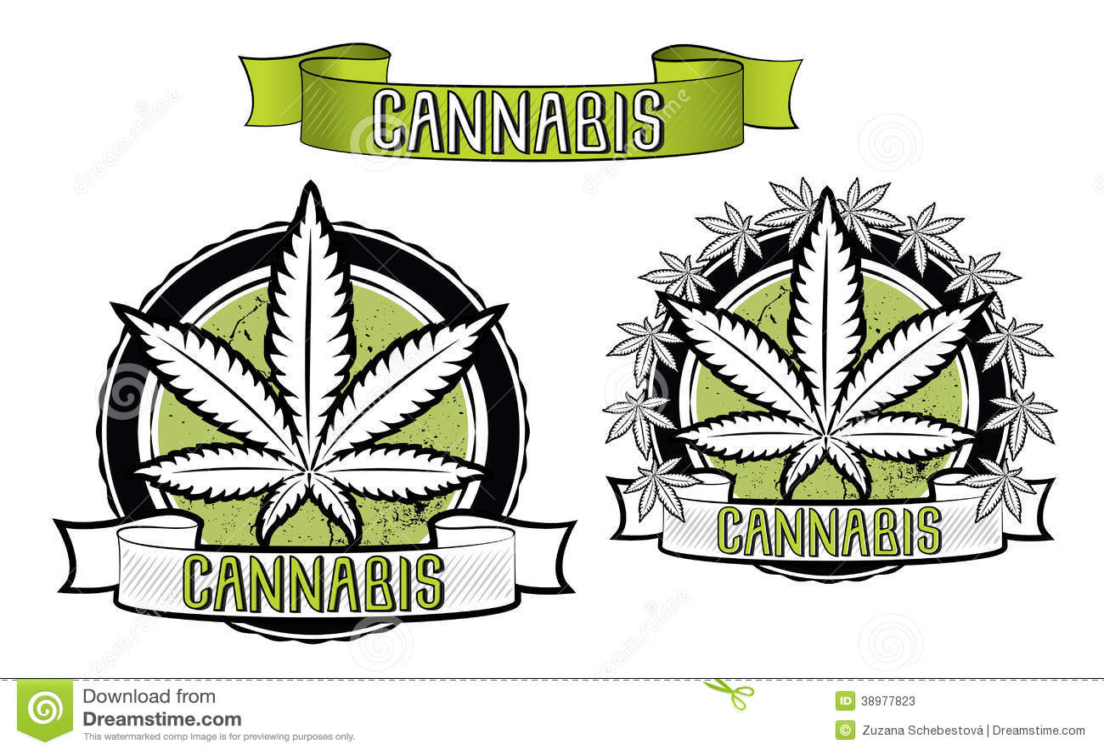 Marijuana and ganja leaf design badges