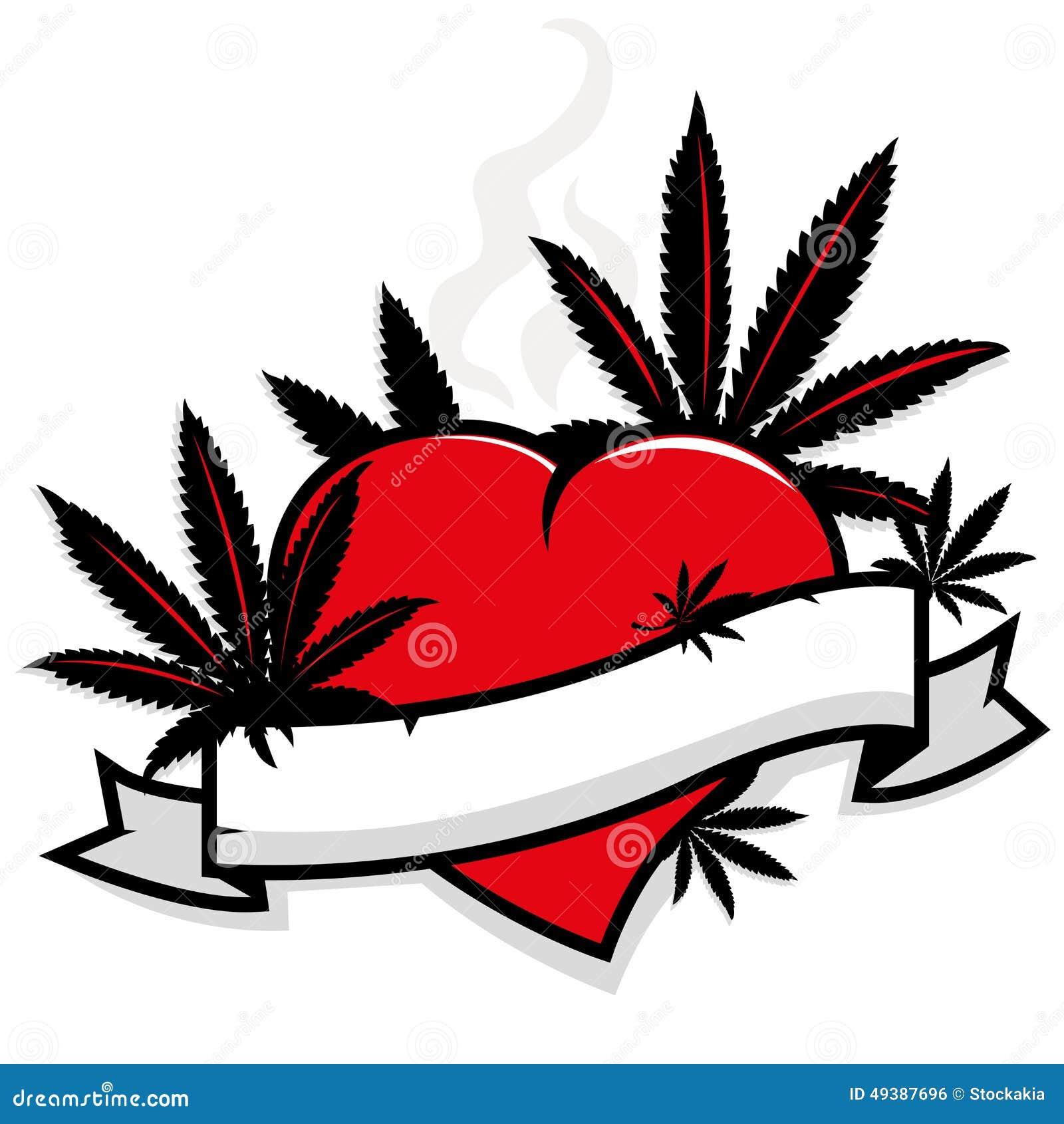 Marijuana leaves on heart and banner stock vector illustration marijuana leaves on heart and banner biocorpaavc