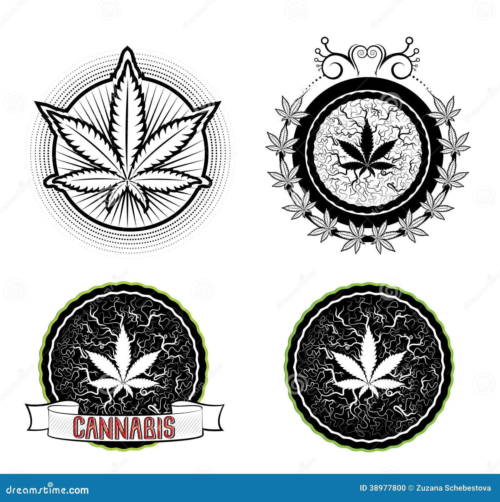 Marijuana and weed symbol badges stock illustration illustration marijuana and weed symbol badges biocorpaavc Choice Image