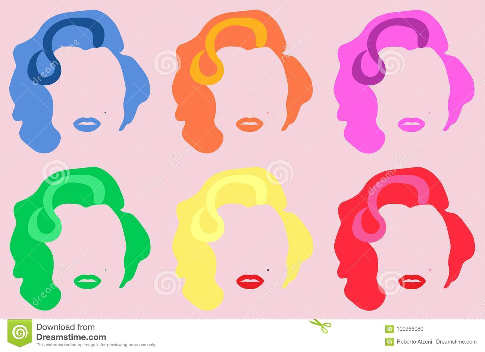 Marilyn Monroe Colored Vetora Illustration Pop Art Style Andy Warhol