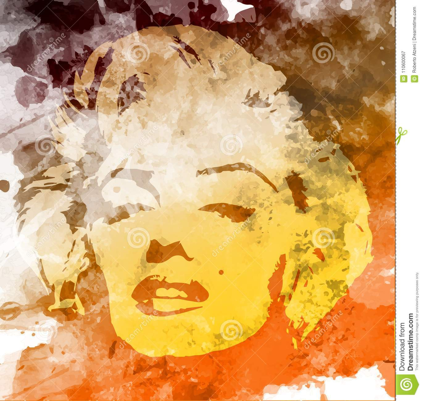 Marilyn Monroe Portrait, Watercolor Style , Hand Drawing On The Wall ...