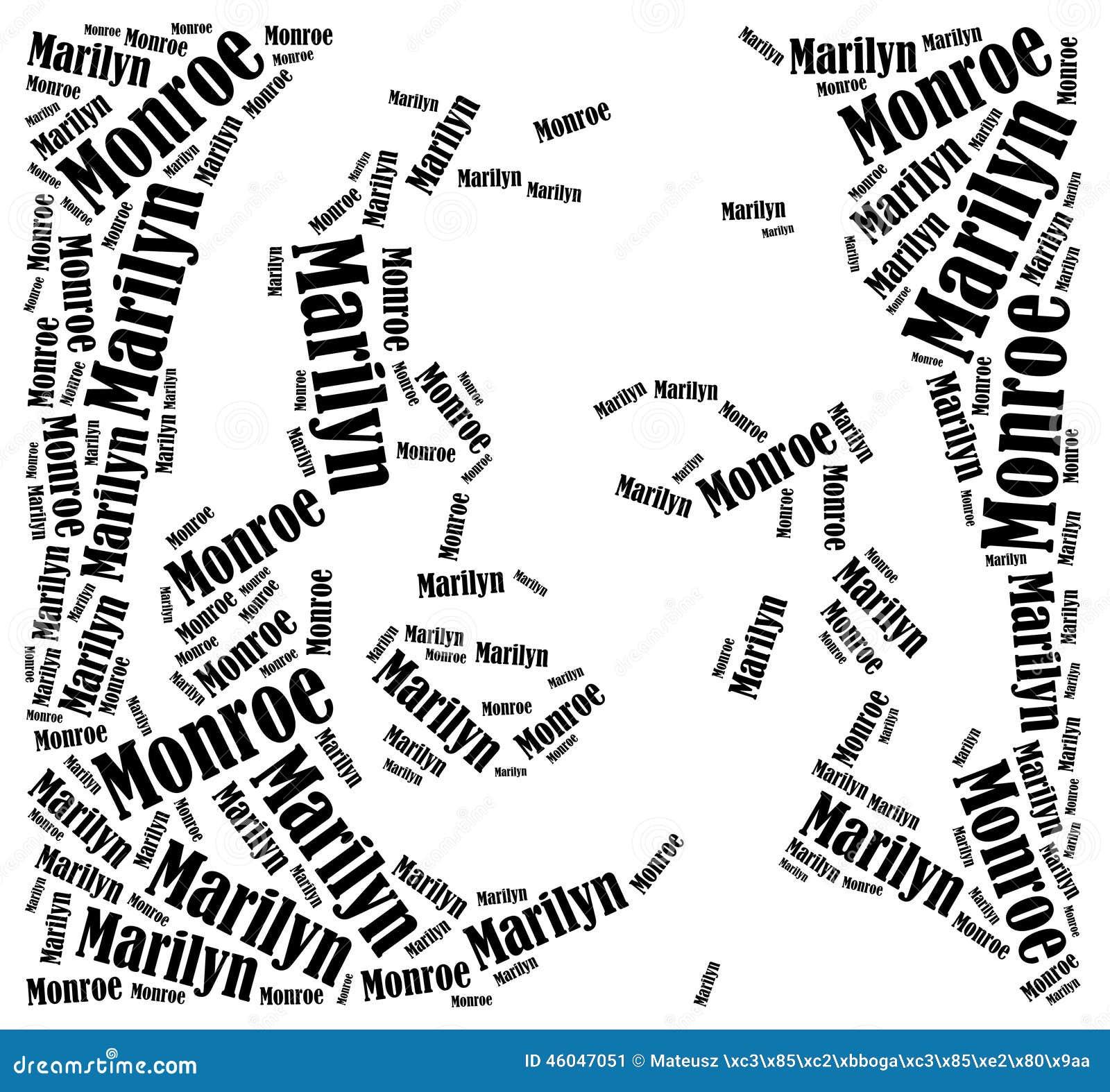 Marilyn Monroe portret Słowo obłoczna ilustracja