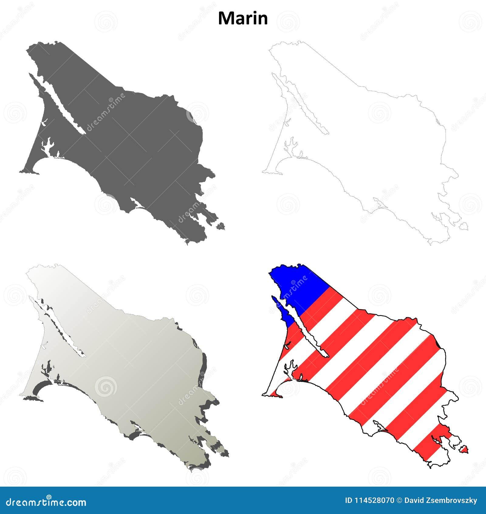 Marin County, grupo do mapa do esboço de Califórnia