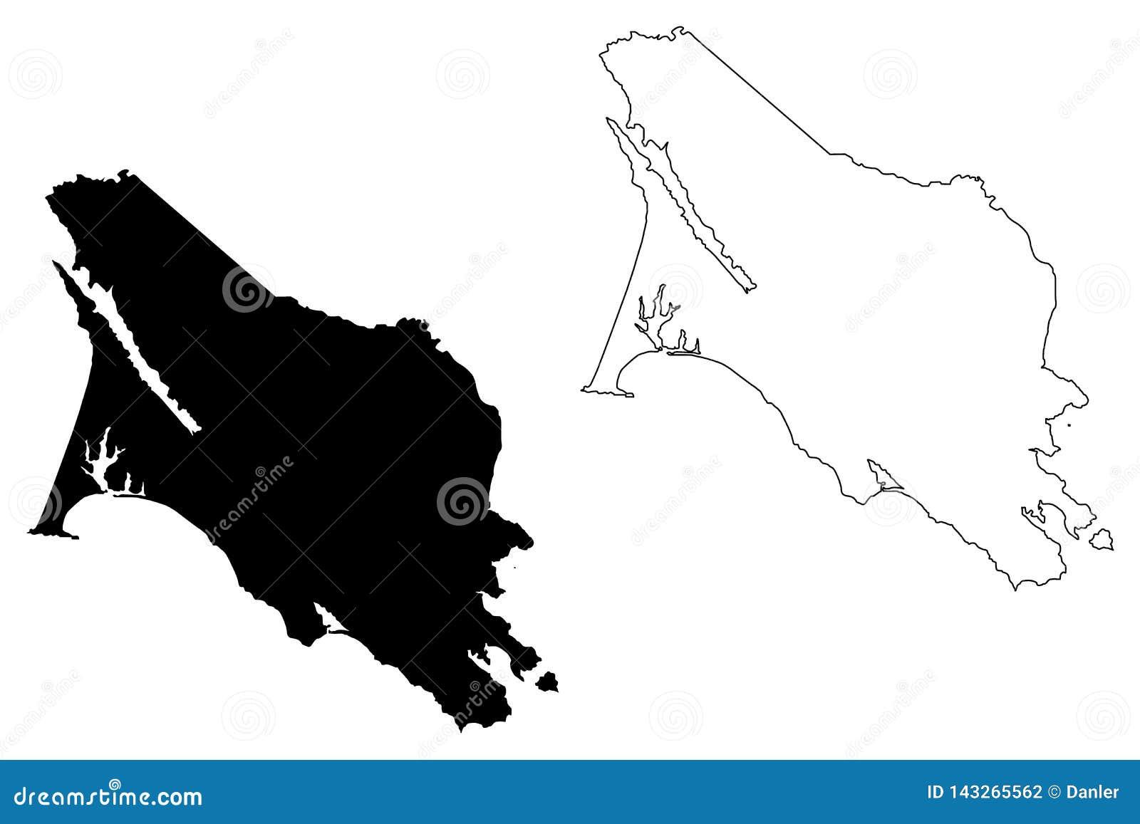 Marin County, vetor do mapa de Califórnia