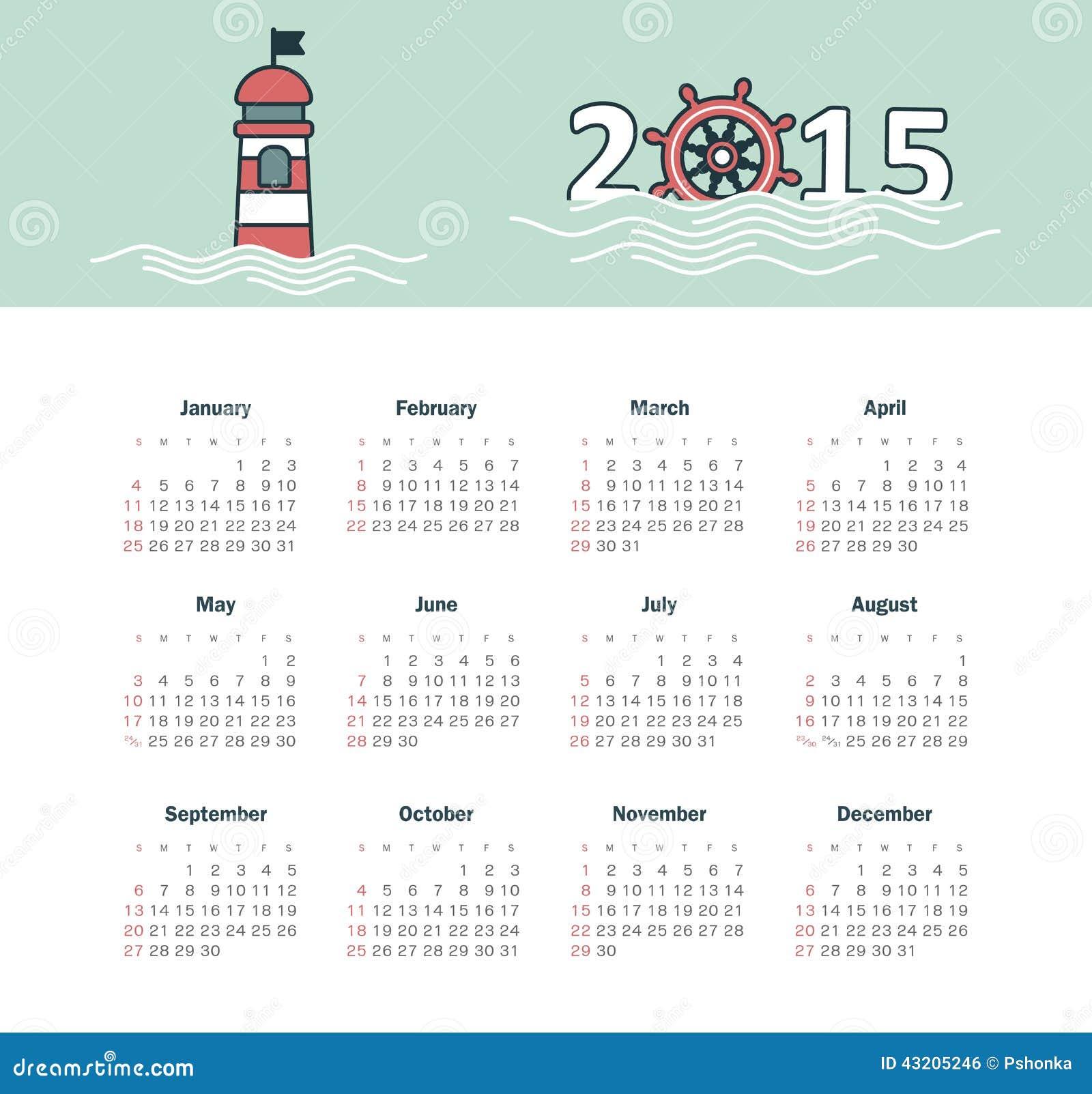 Download Marin- Kalender 2015 år Med Fyren Vektor Illustrationer - Illustration av nummer, papper: 43205246