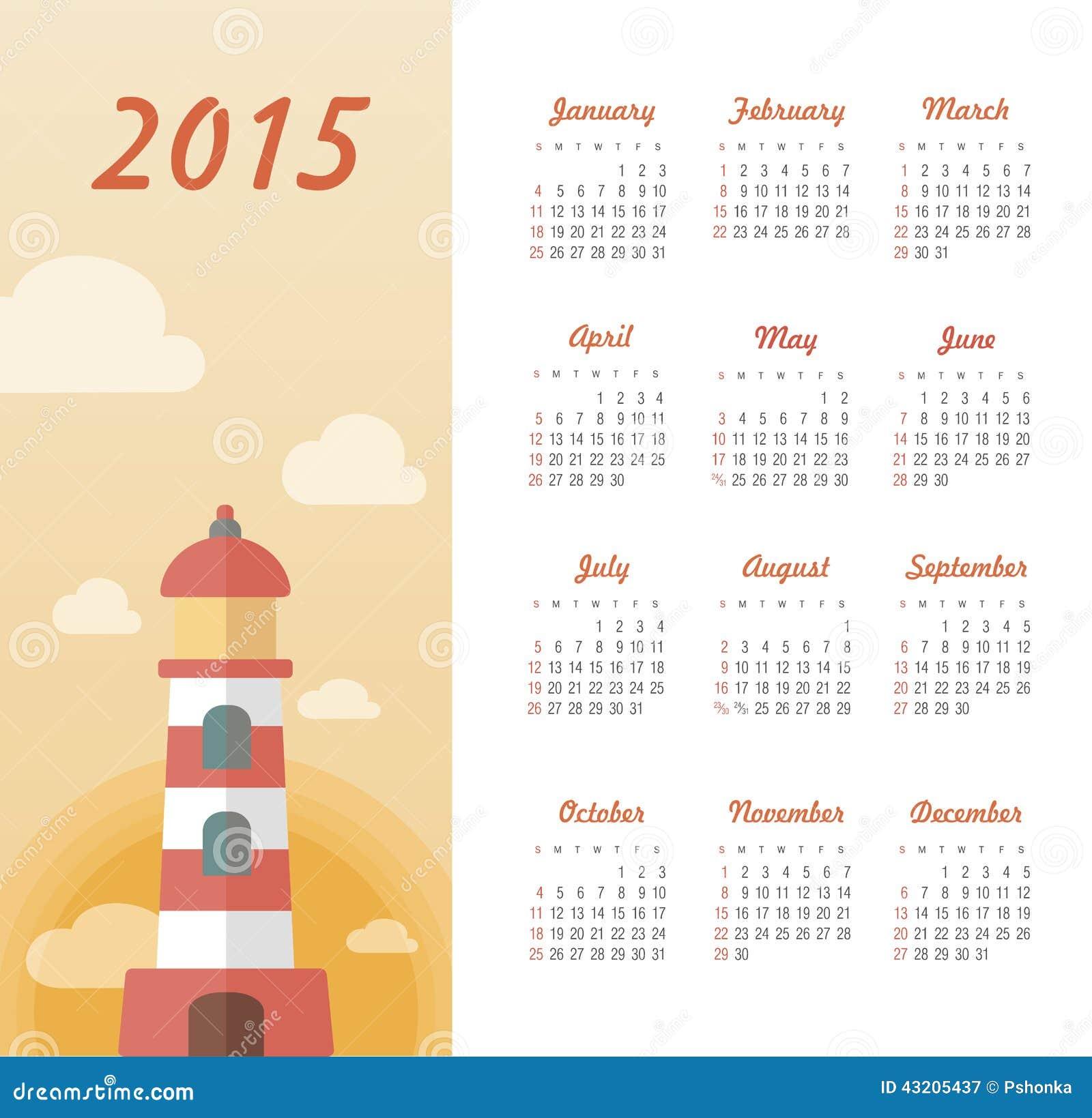 Download Marin- Kalender 2015 år Med Fyren Vektor Illustrationer - Illustration av datum, modernt: 43205437
