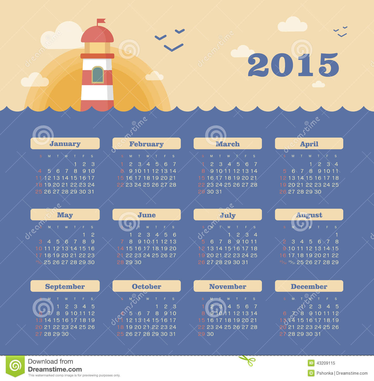 Download Marin- Kalender 2015 år Med Fyren Vektor Illustrationer - Illustration av illustration, sida: 43209115