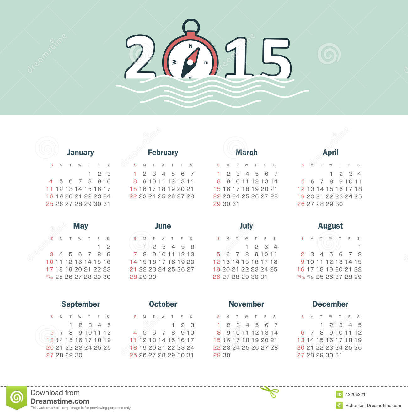 Download Marin- Kalender 2015 år Med Kompasset Vektor Illustrationer - Illustration av november, datum: 43205321