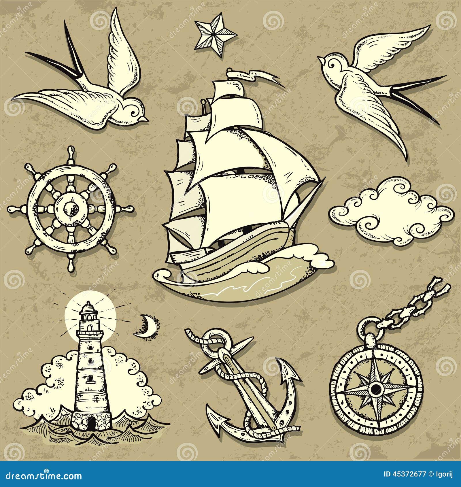 Marin set illustration de vecteur image 45372677 - Tatouage theme voyage ...