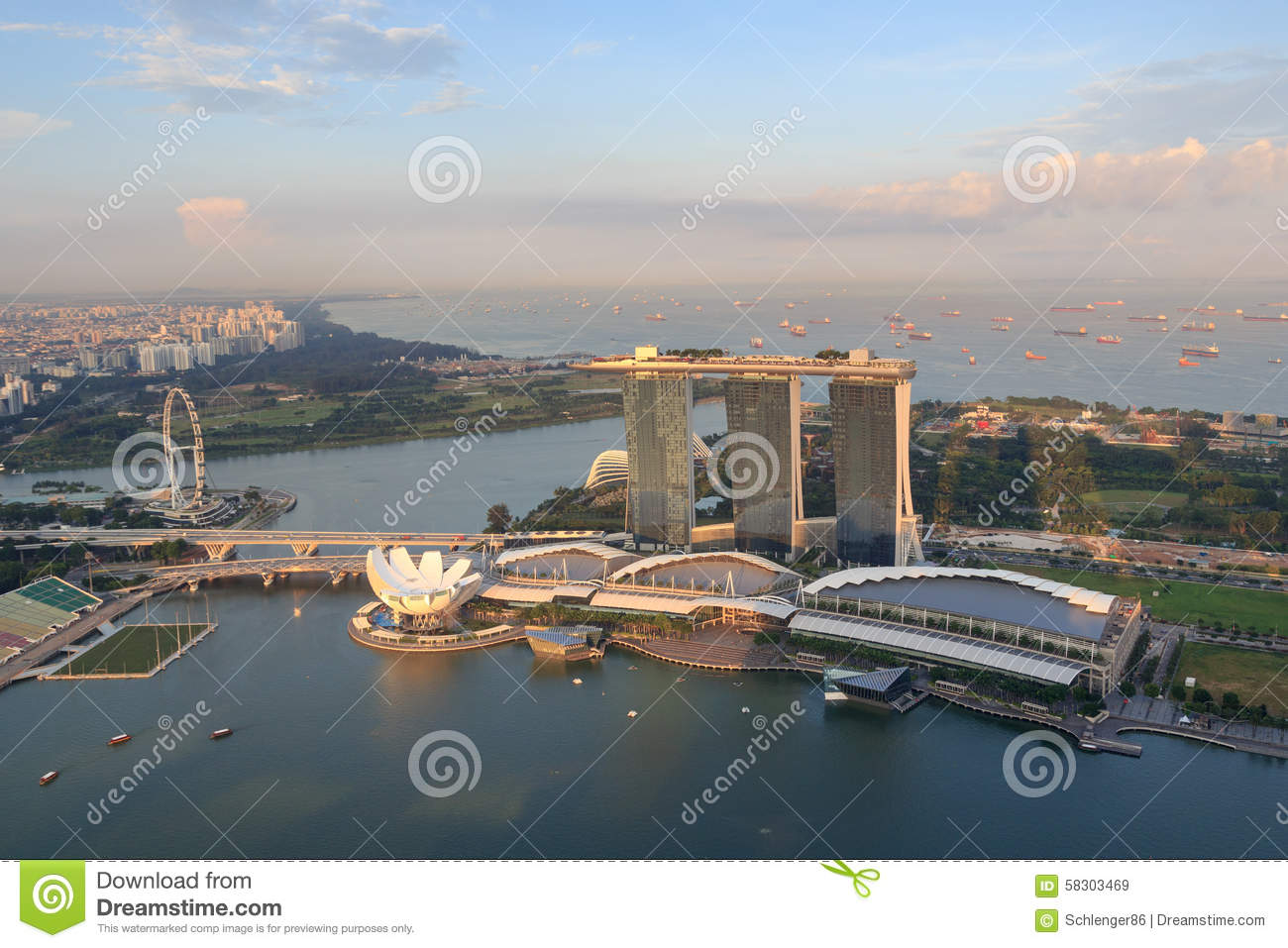 Marina Bay Sands Hotel Artscience Museum And Singapore Flyer Editorial Stock Image Image