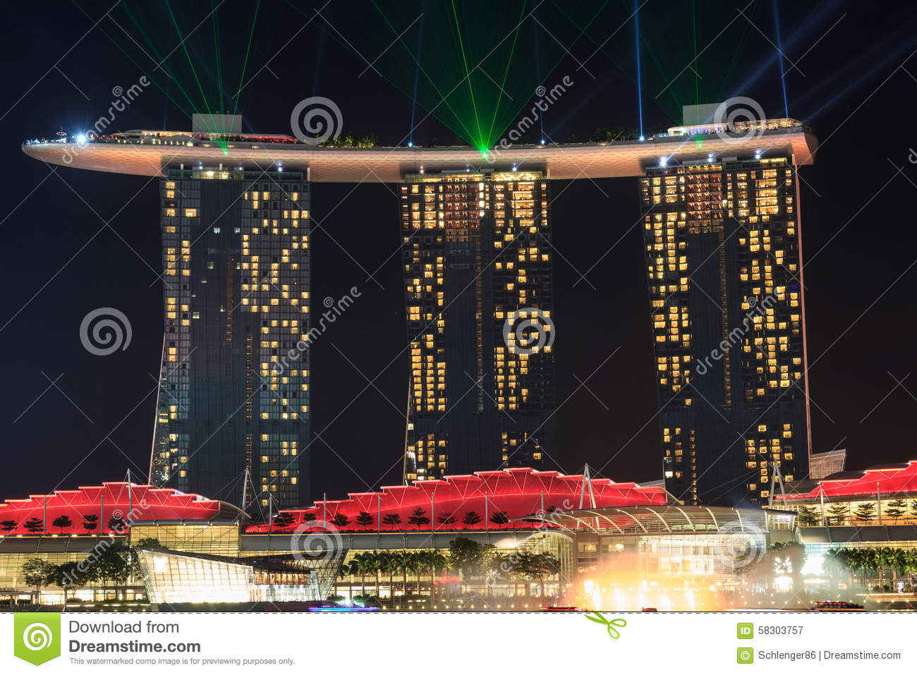 Marina Bay Sands Hotel With Light And Laser Show In Singapore