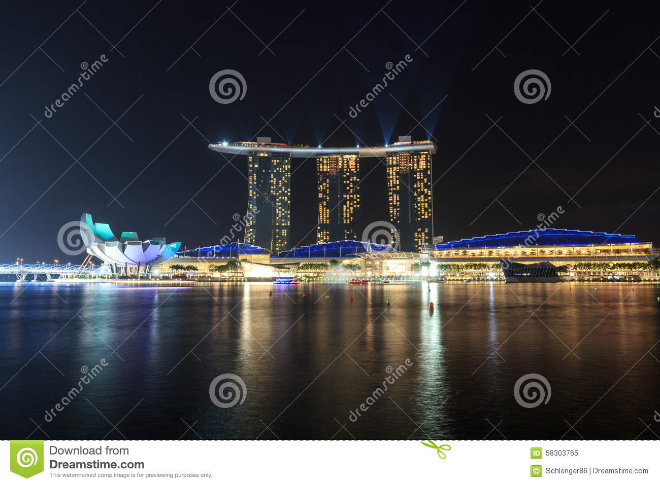 Marina Bay Sands Hotel With Light And Laser Show In Singapore Stock Photo I