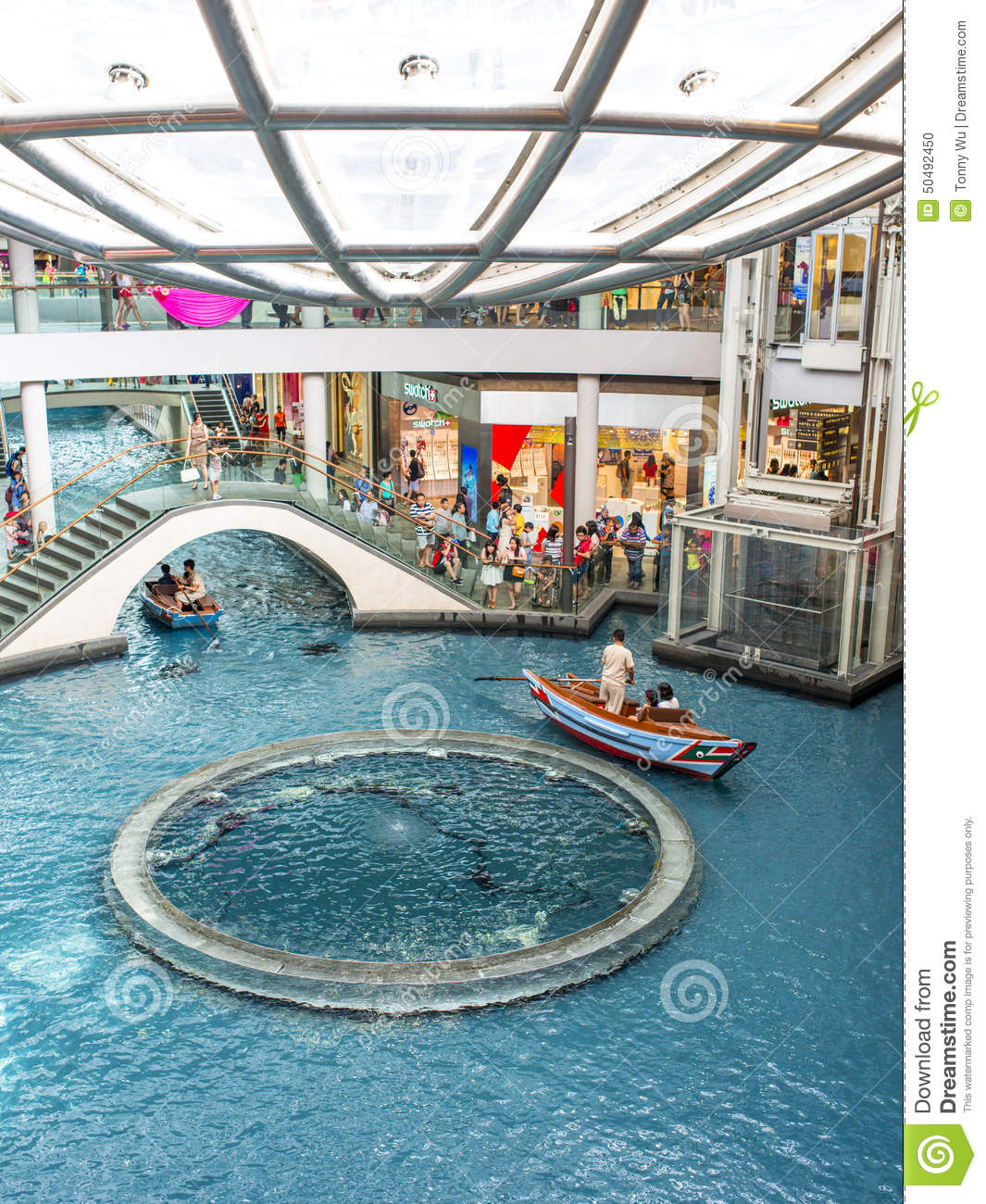 ... Bay Sands integrated shopping mall with river gondola in Singapore