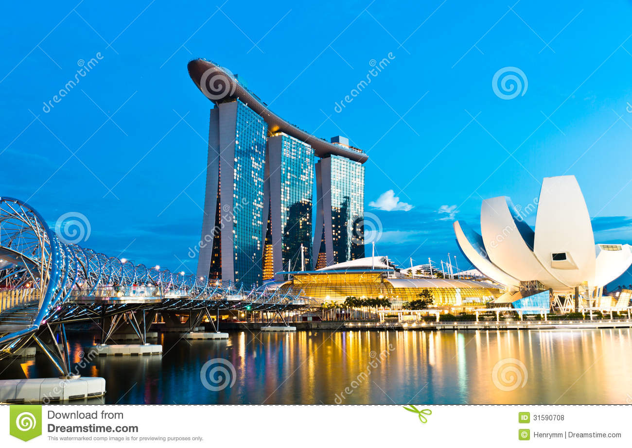 Marina bay sands singapore stock photo image of modern for Design bridge singapore