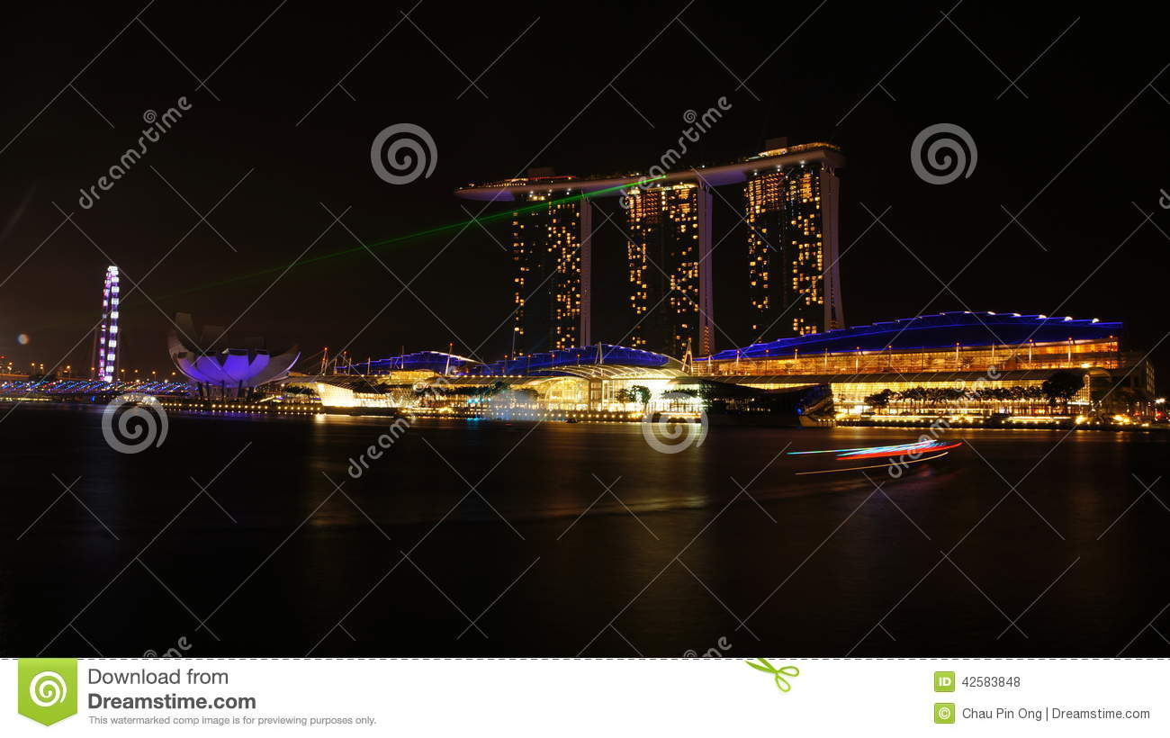 The Marina Bay Sands Laser Light Show Editorial Stock