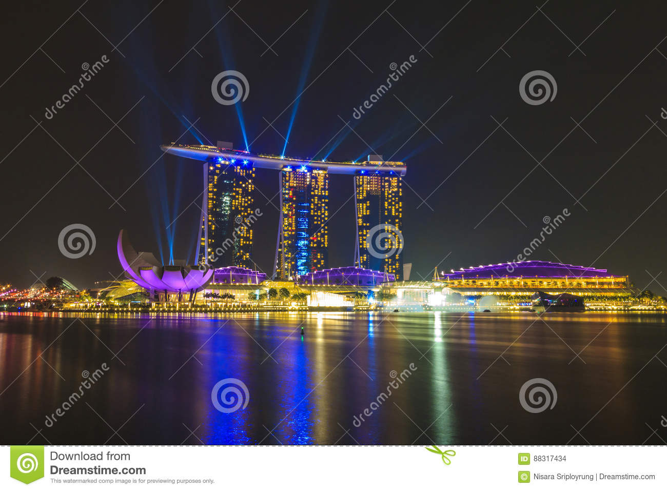 marina bay sands singapore laser and lighting show stock photo