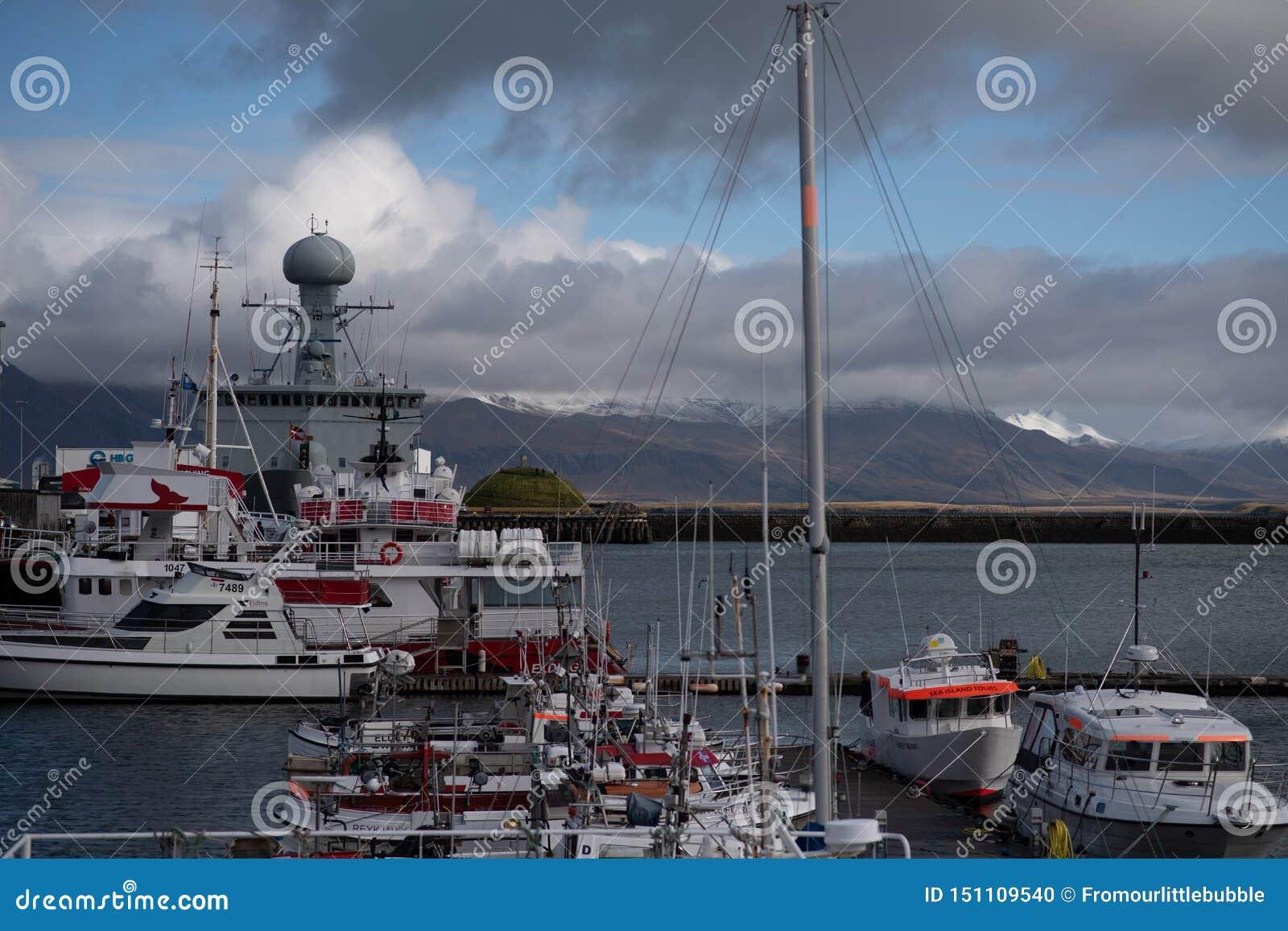 Ship housing a weather station in Reykjavik