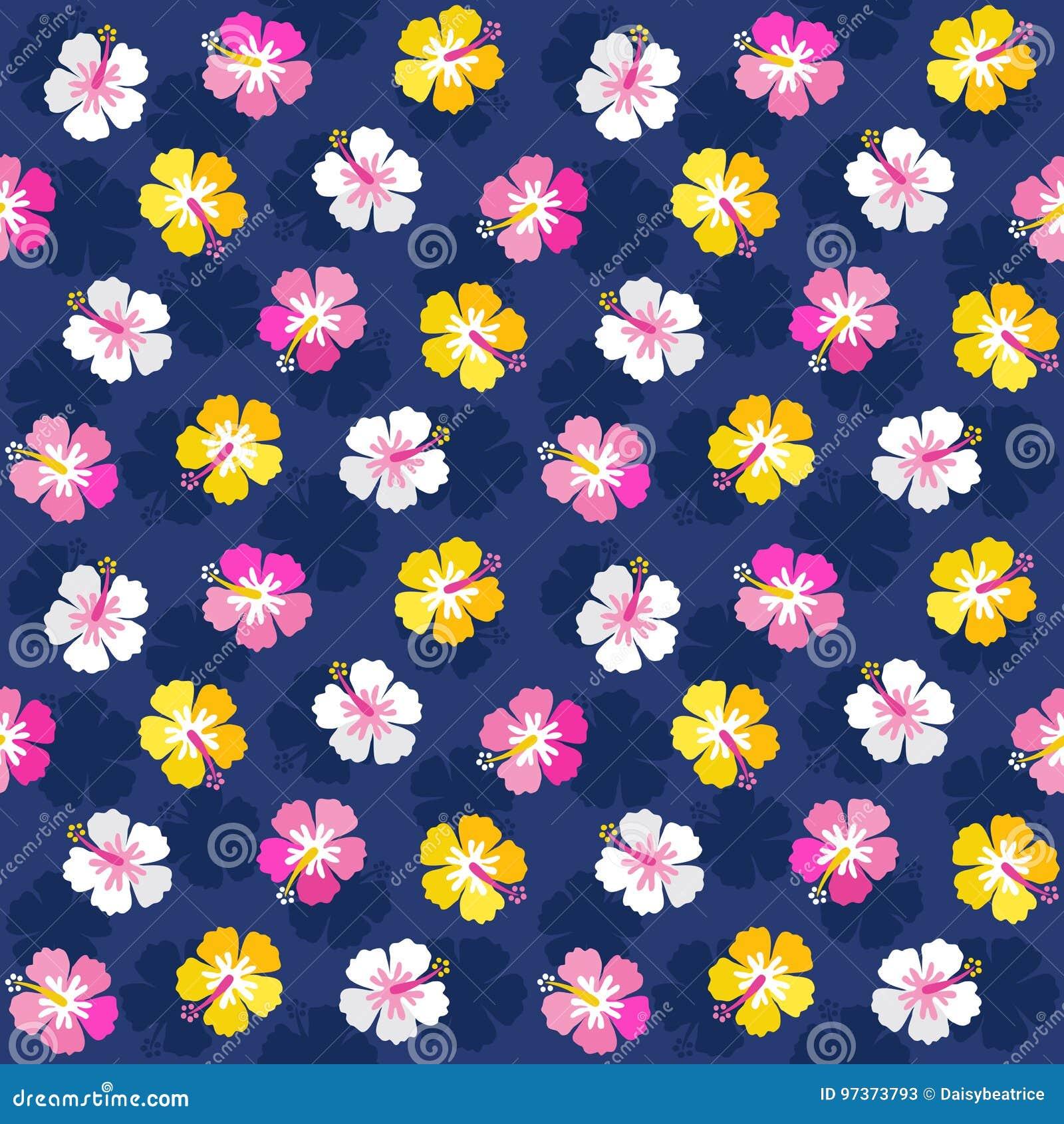 Marina de guerra floral del rosa del fondo del hibisco del verano colorido
