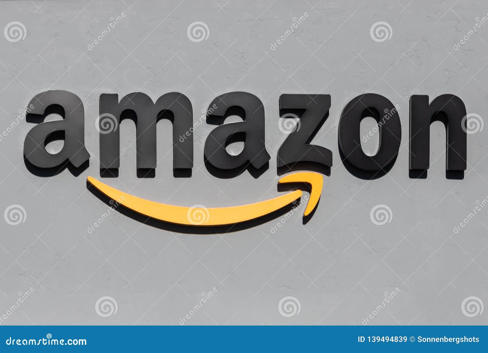 Amazonbooks Signage against a grey background