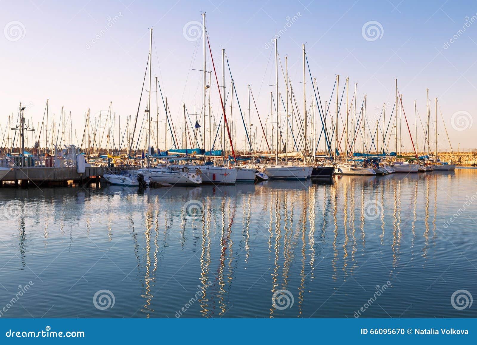Marina with docked yachts at sunset
