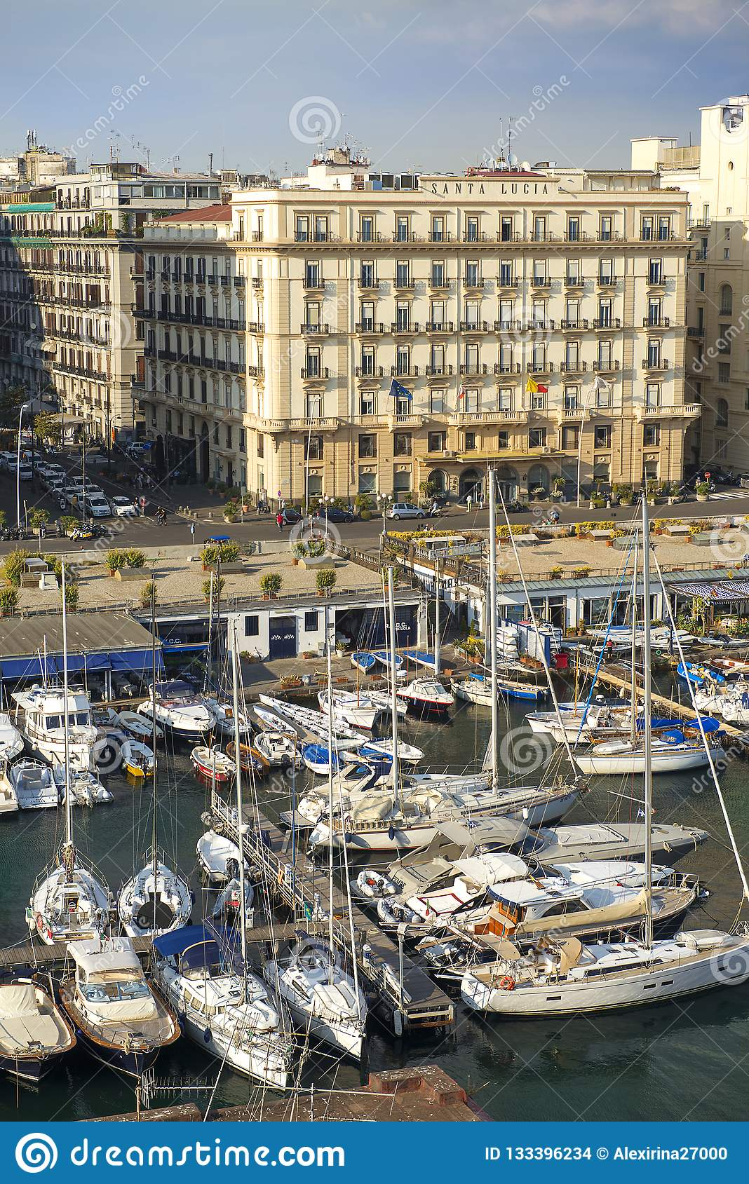 Marina Of Naples And Grand Hotel Santa Lucia Naples Italy Editorial Stock Image Image Of Fort Grand 133396234