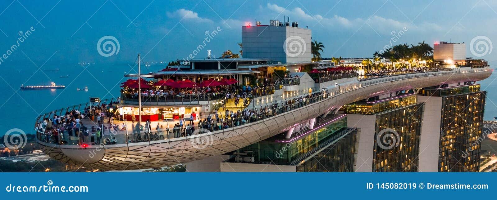 Marina Podpalany Hotelowy Skypark Skygarden Skybar przy Singapur