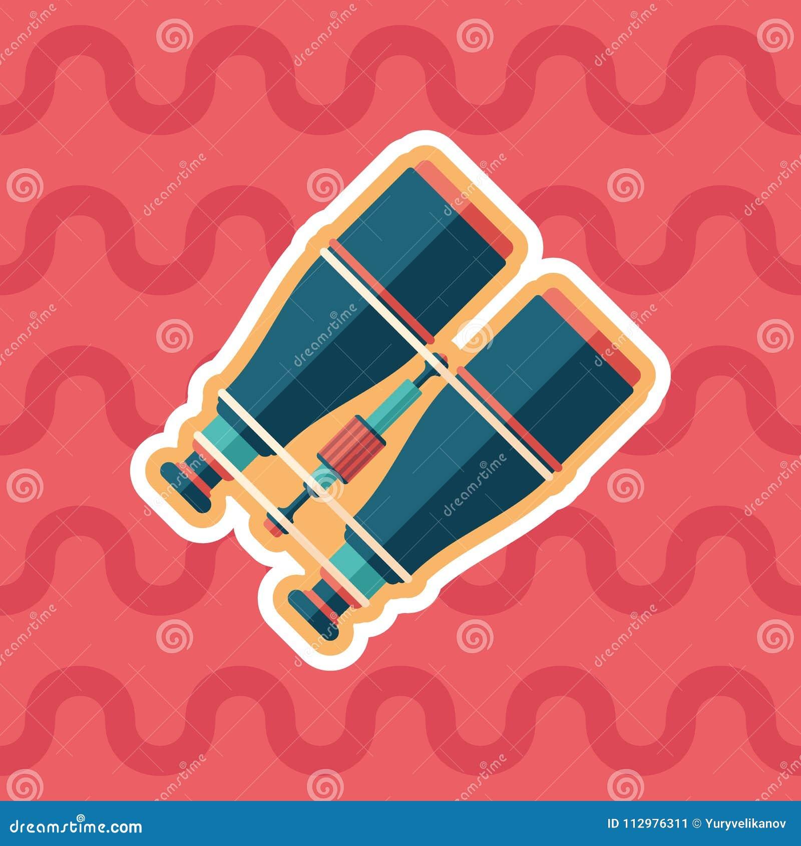 Marine binoculars sticker flat icon with color background.