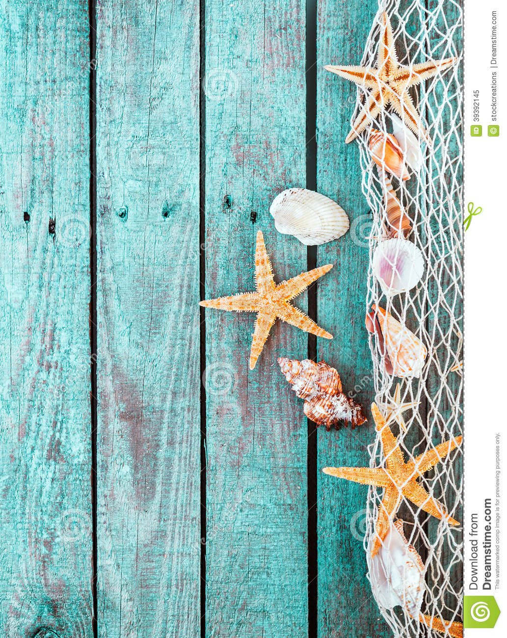 Marine Border Of Fishnet With Shells And Starfish Stock