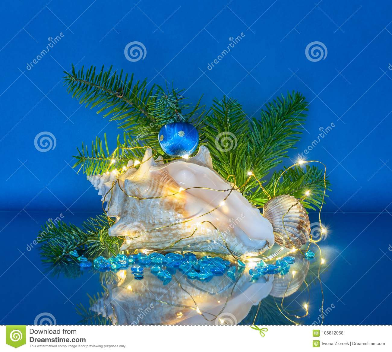 marine christmas decoration with fairy lights
