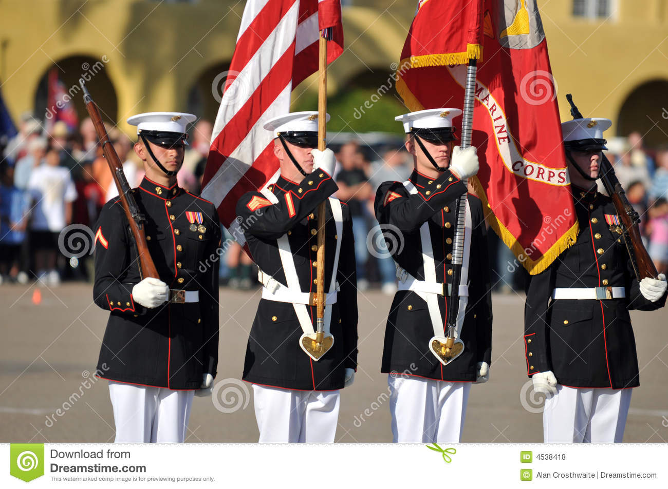 Color guard during a ceremony. Image taken during the Silent Drill Team  performance at MCRD San Diego on March 8th, 2008.