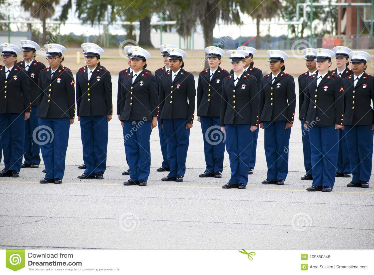 marine corps marine girls graduation at parris island, south