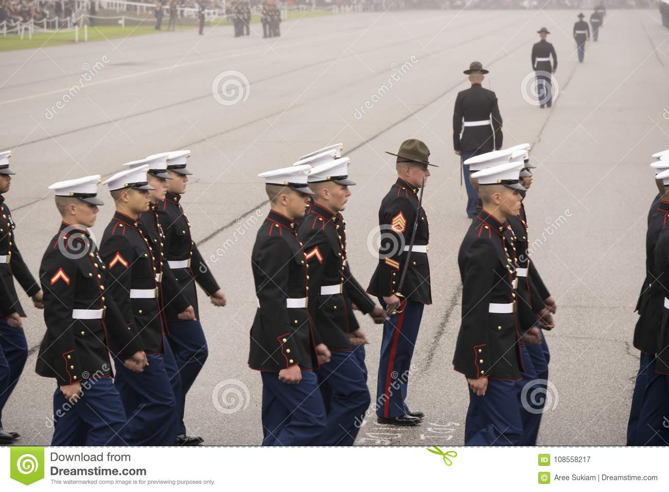 Marine Corps Marching in mistige dag