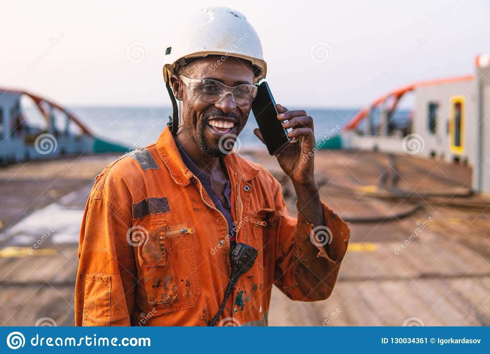 Marine Deck Officer Or Chief Mate On Deck Of Vessel Or Ship Stock