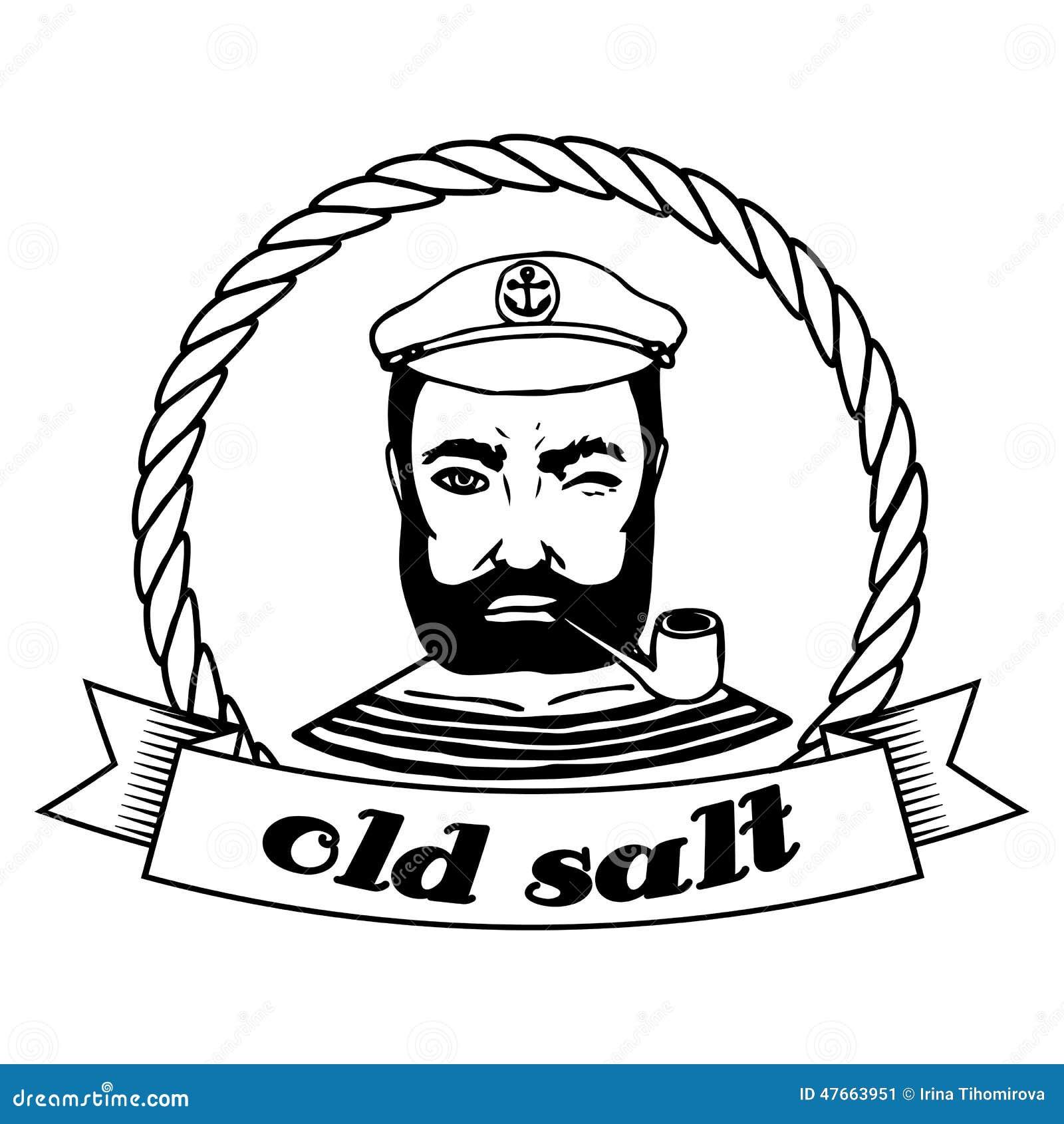Marine Doodle Label. Seaman. Isolated. Stock Illustration ...