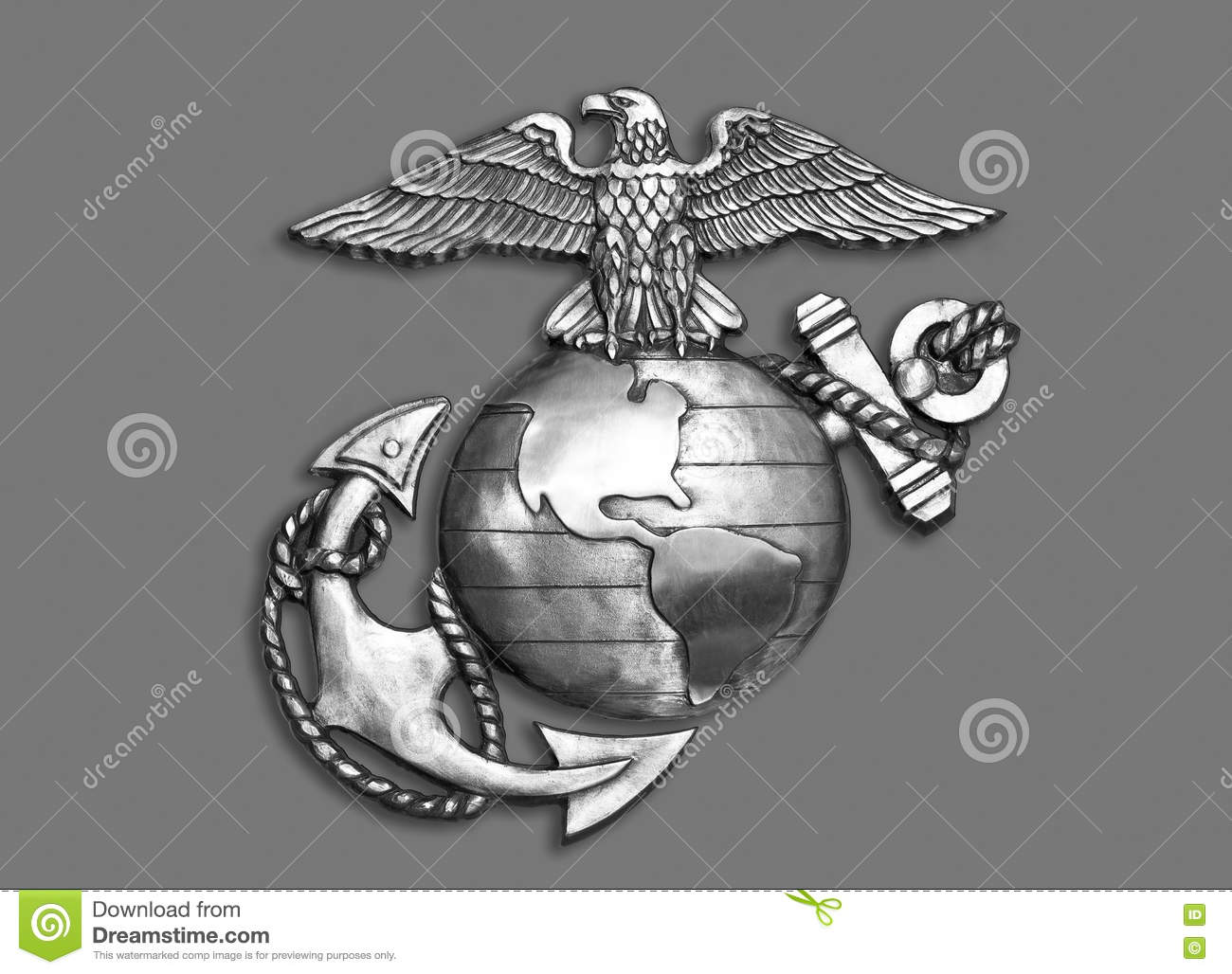 Download Marine Eagle ,Globe And Anchor. Stock Photo - Image of globe, metal: 70360758