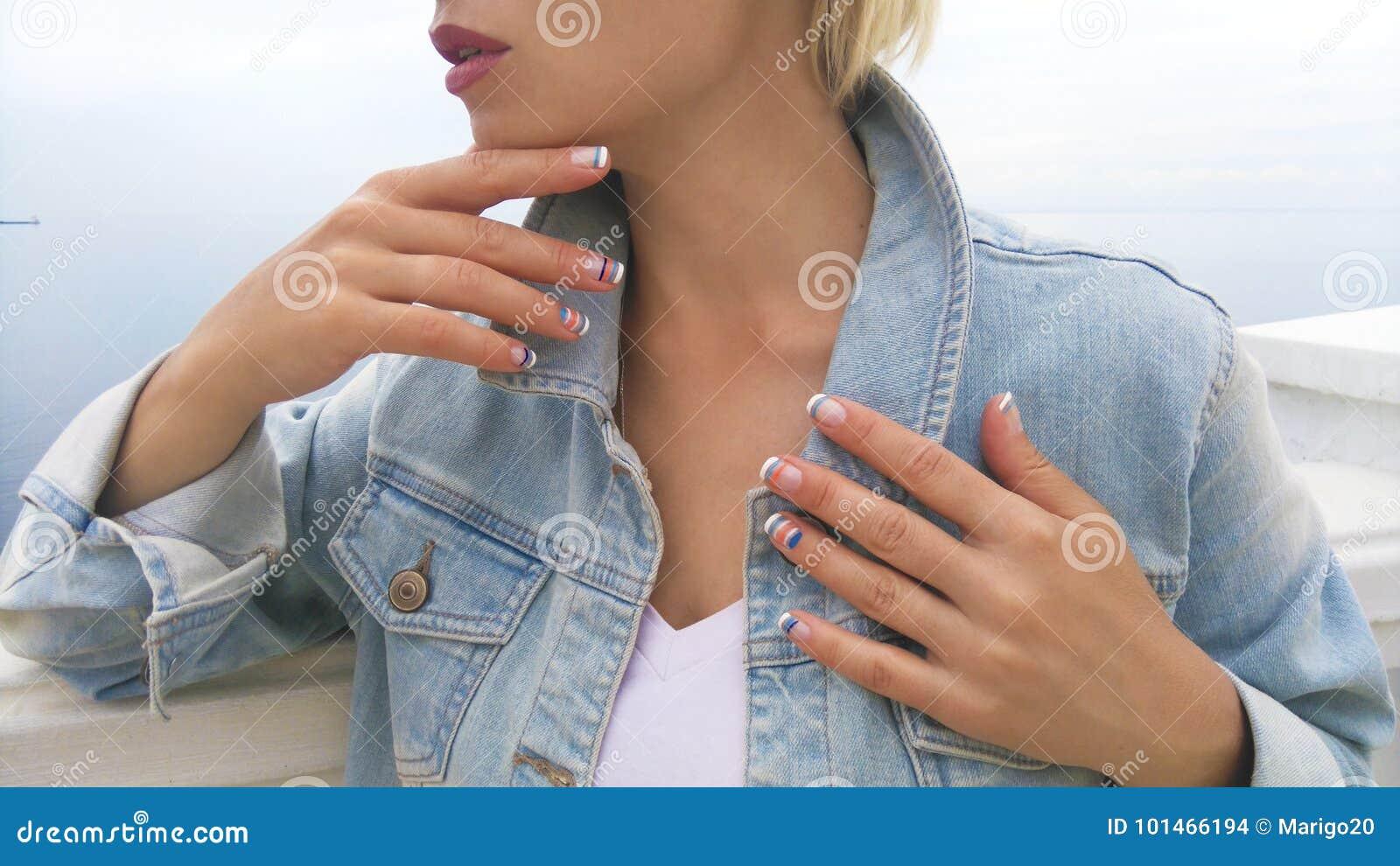 Marine French nail designs .