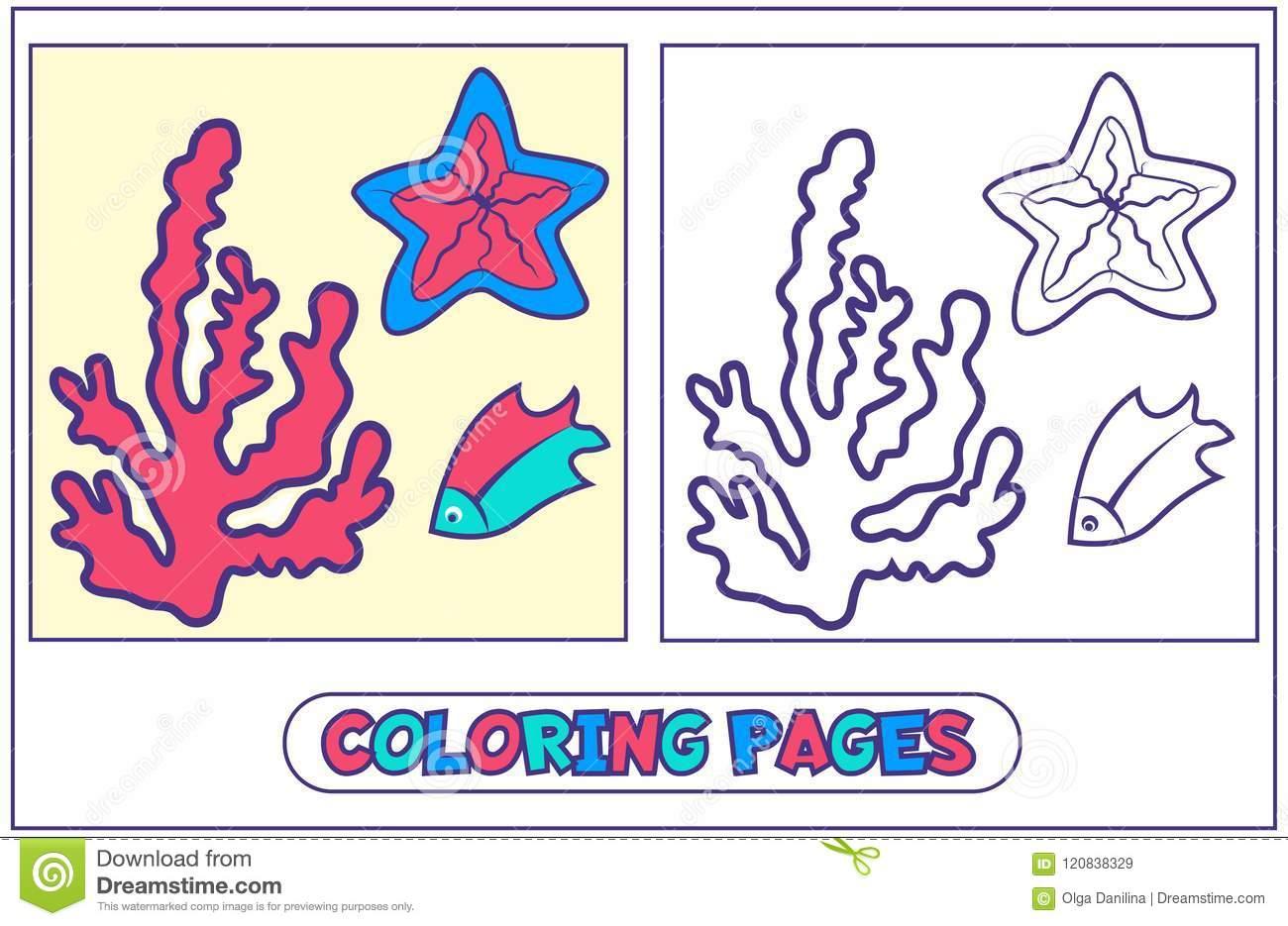 Marine Inhabitants Coloring Pages Stock Vector - Illustration of ...