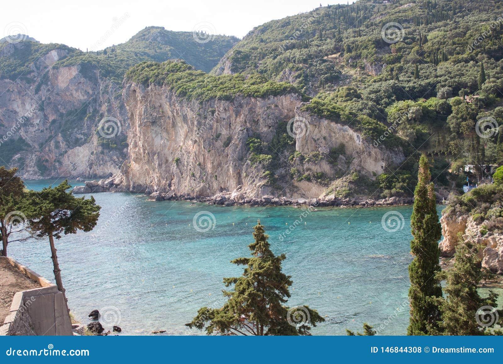 Marine landscape. Ionian Sea. Paleokastritsa. Corfu Island. Greece.