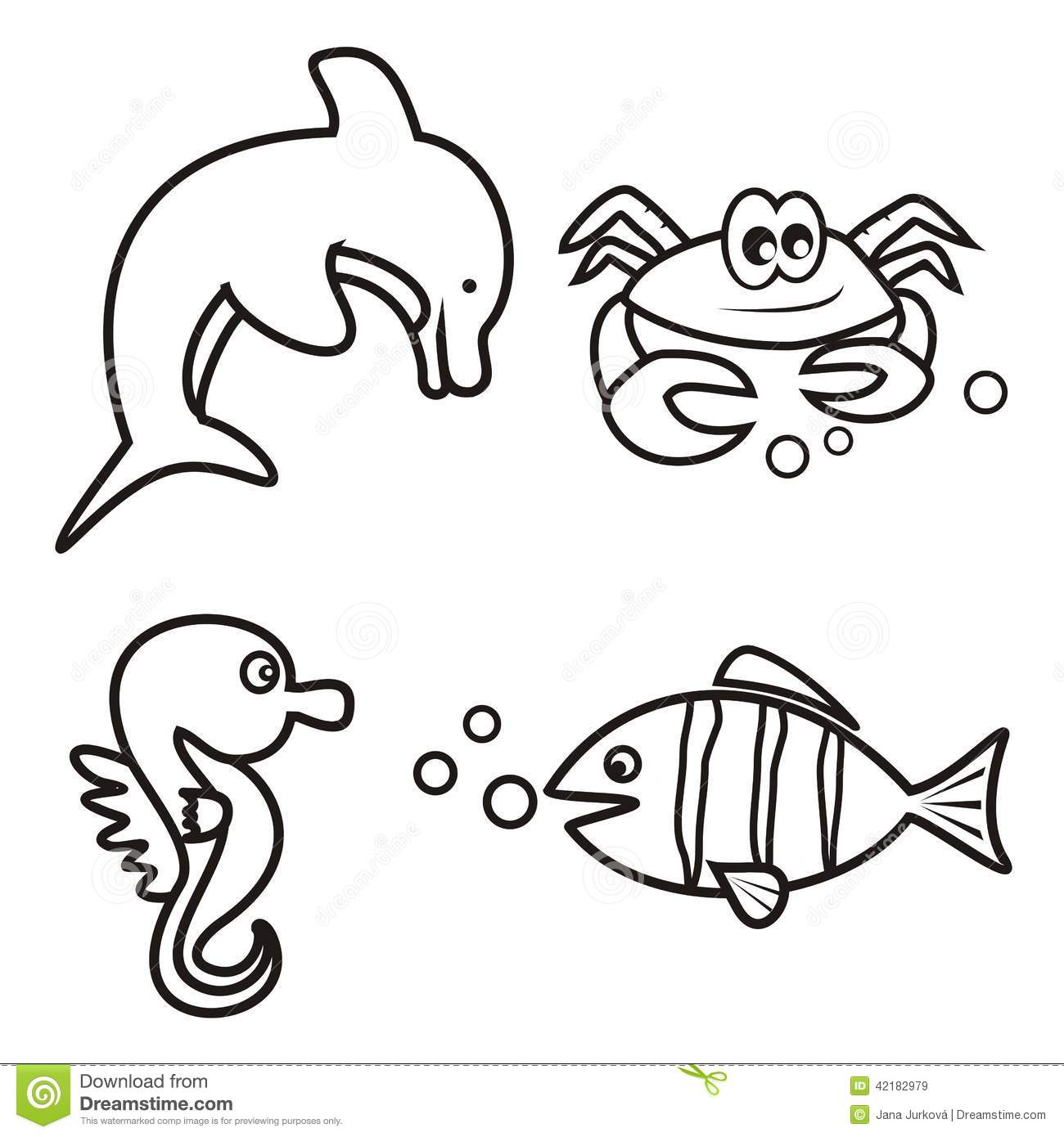 Marine Life Coloring Book Stock Vector Image 42182979