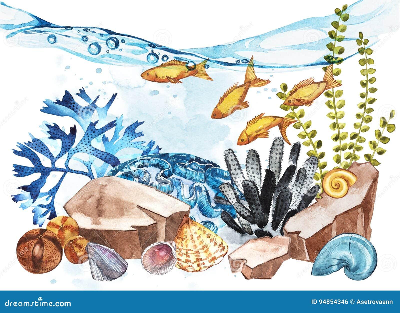 Marine Life Landscape - de oceaan en onderwaterwereld met verschillende inwoners Aquariumconcept voor affiches, T