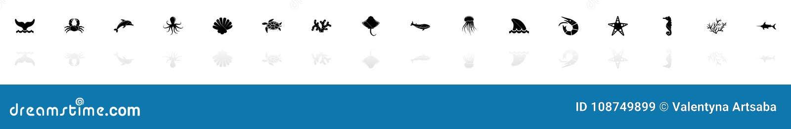 Marine Life - Vlakke Vectorpictogrammen