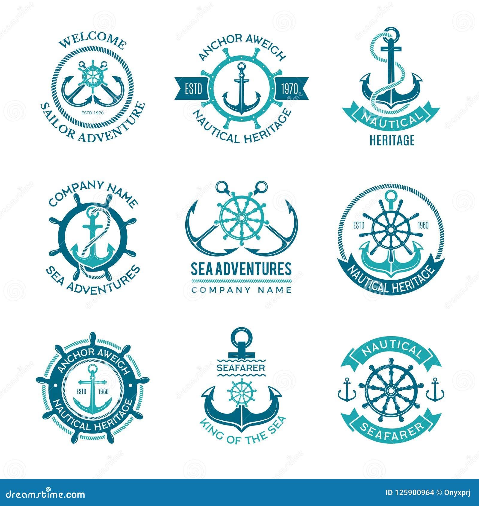 Marine Logo Emblema nautico di vettore con le ancore della nave ed i volanti Simboli monocromatici del marinaio della barca di cr