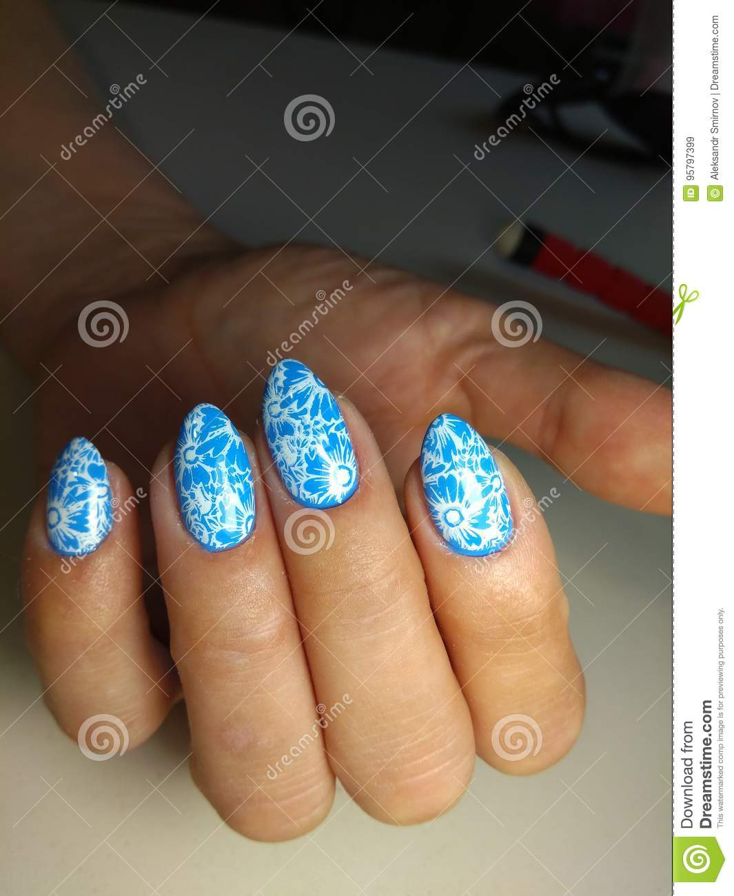 Marine Manicure Nail Design Stock Image Image Of Fashion Glamour