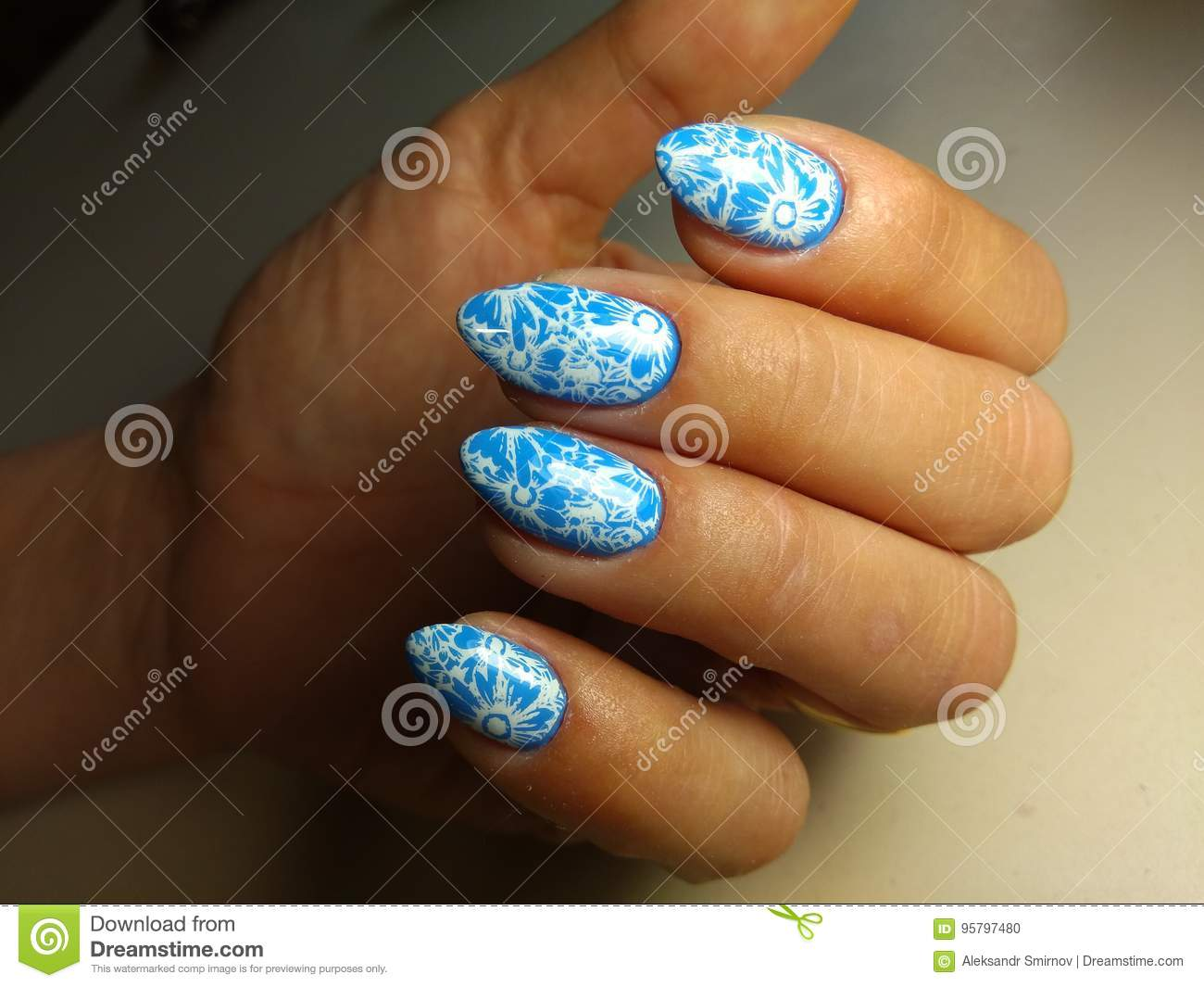 Marine Manicure Nail Design Stock Photo Image Of White Female