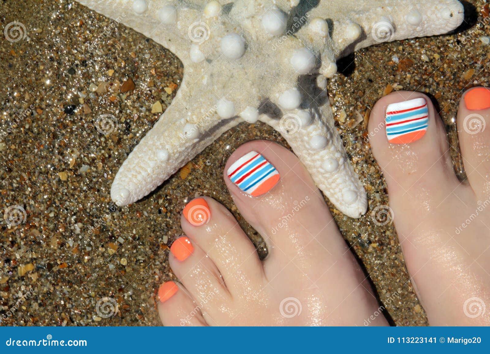 Marine Nail Design Stock Image Image Of Orange Line 113223141
