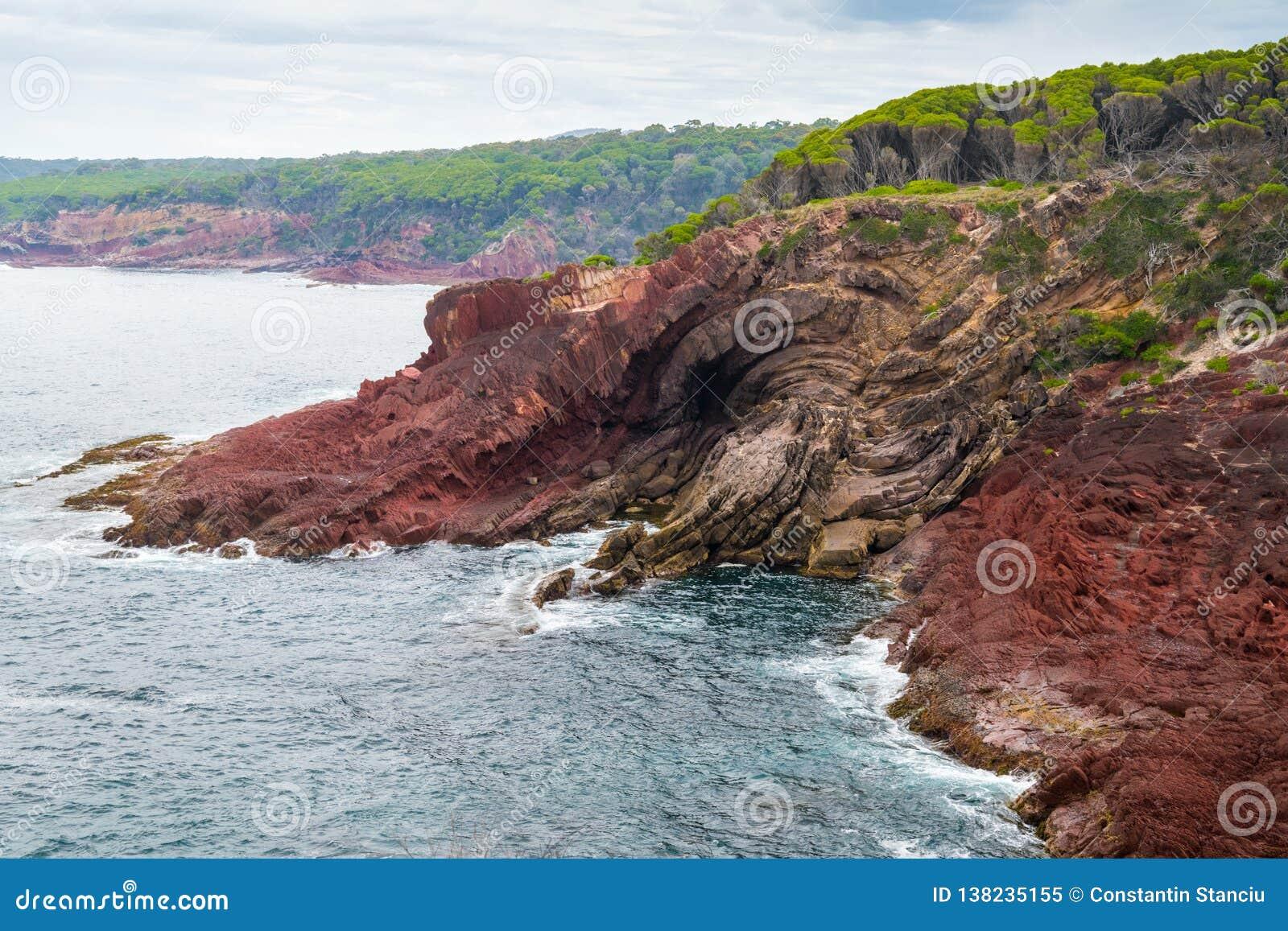 Marine red folded rocks in Ben Boyd National Park