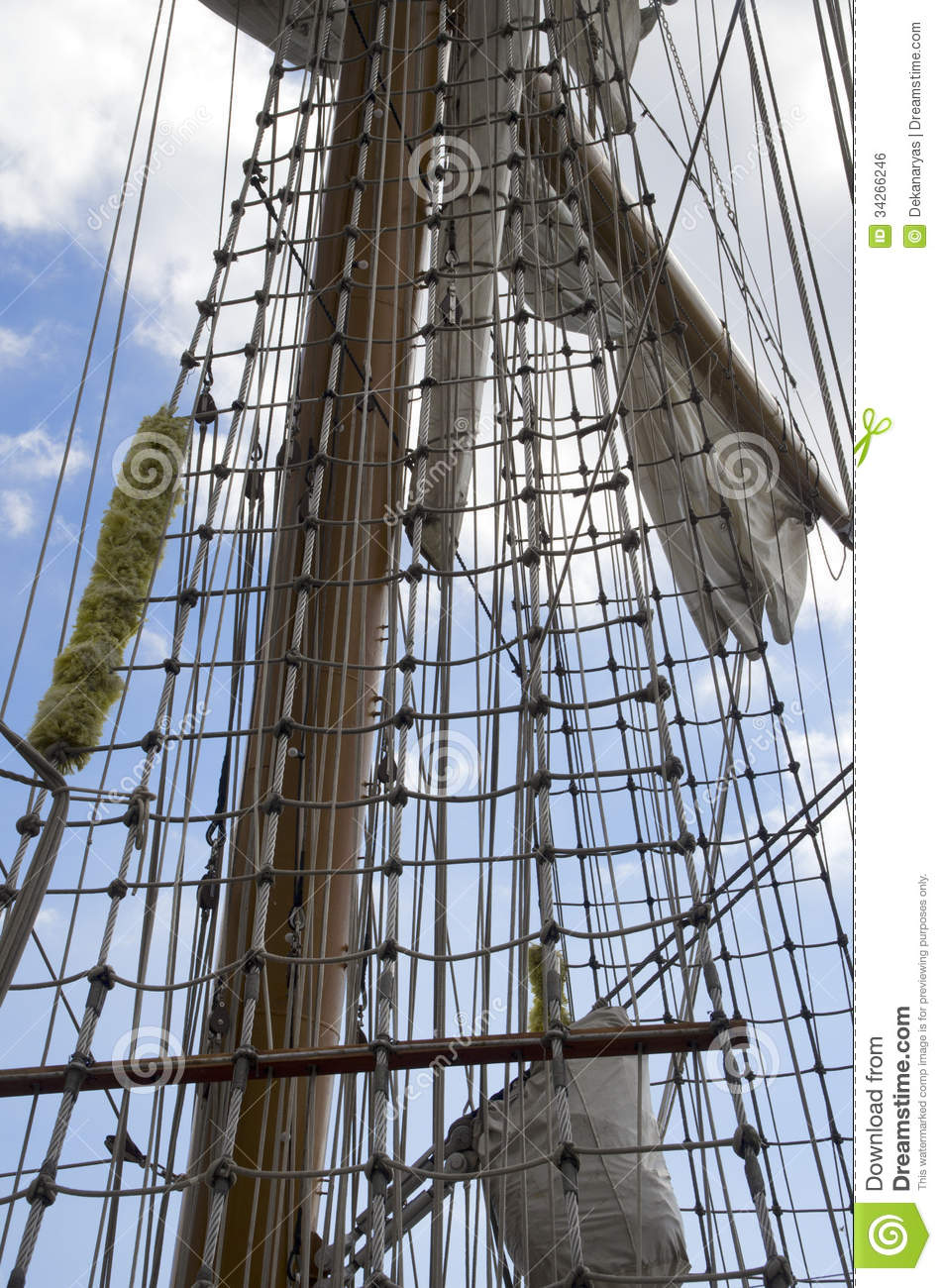Marine Rope Ladder On The Sailing Ship Stock Photo - Image of ... for Rope Ladder Ship  49jwn