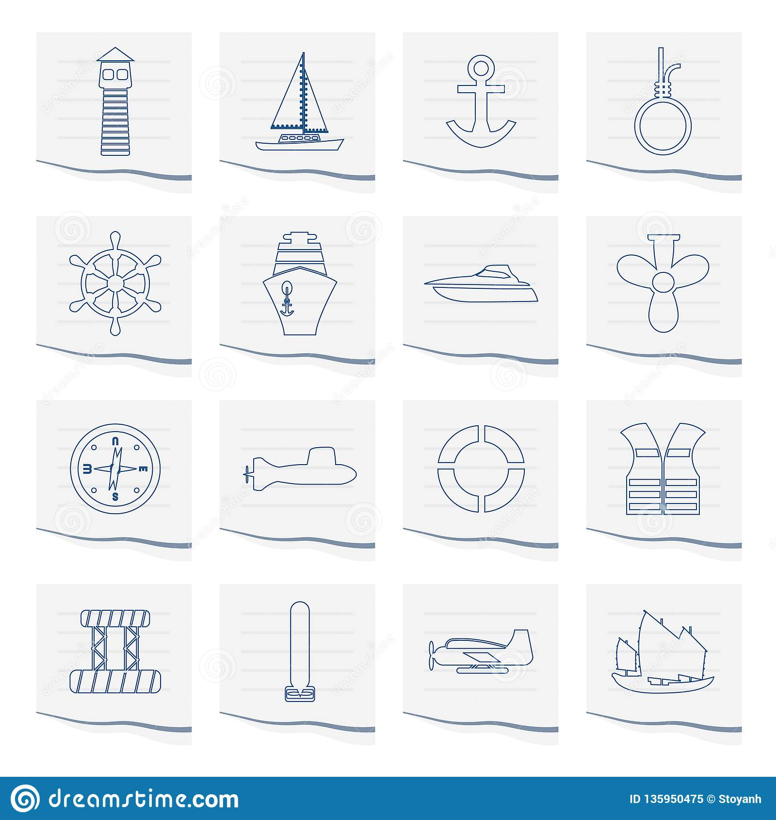Marine, Sailing and Sea Icons on a piece of paper