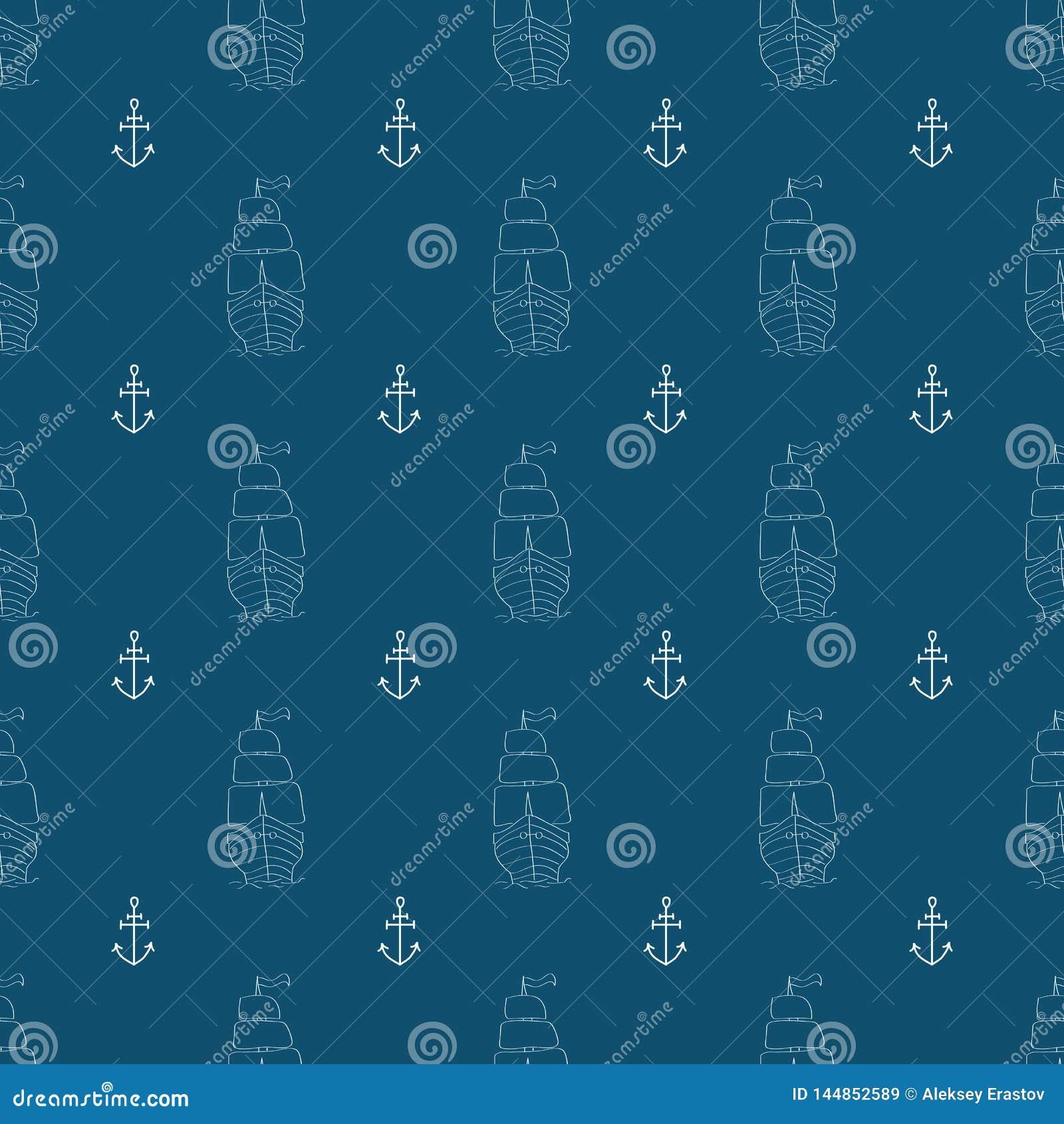 Marine seamless pattern. Doodle, sketch, scribbles. Vector illustration.