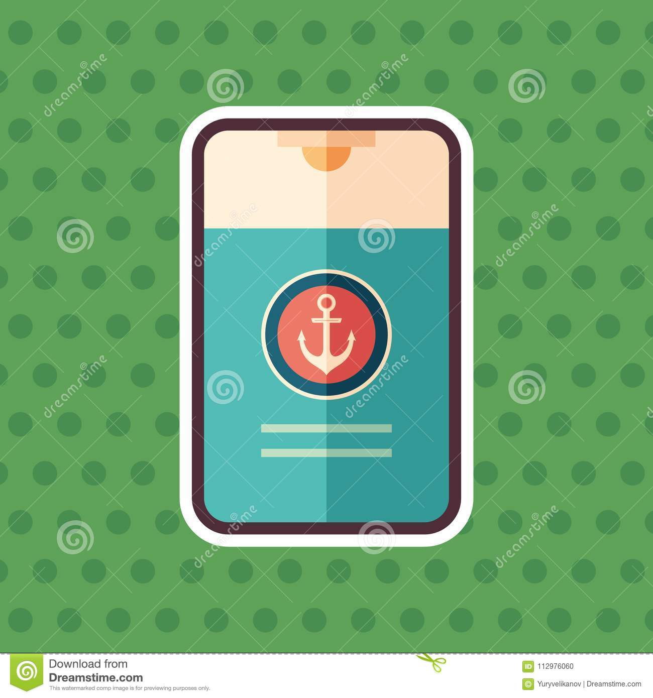 Marine shower gel sticker flat icon with color background.